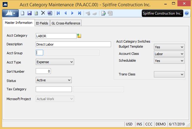 Acct Category Maintenance