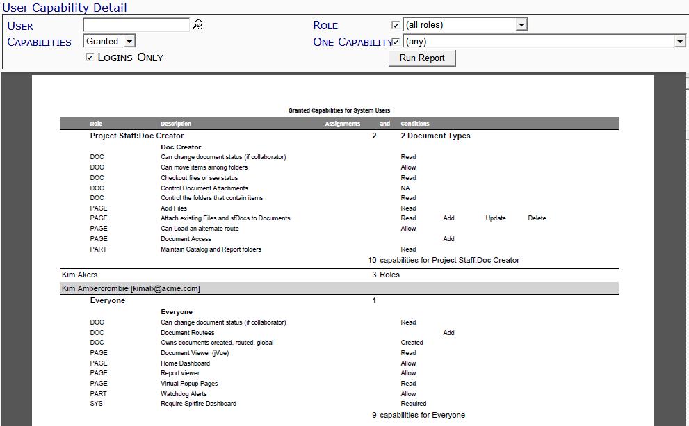 User Capability Detail