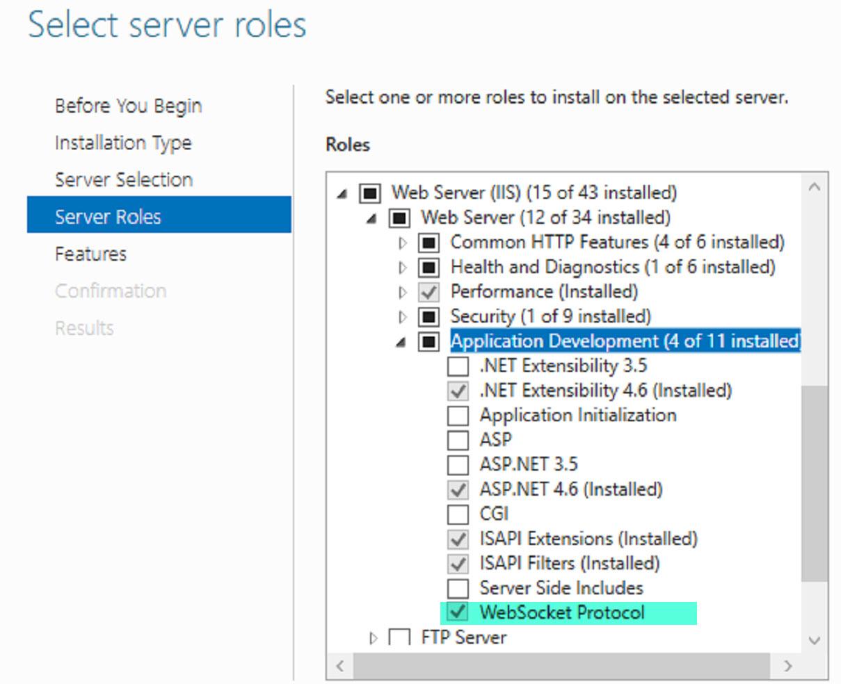 Add Server Role: WebSocket Protocol