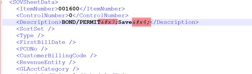 XML Node with bad <description> value
